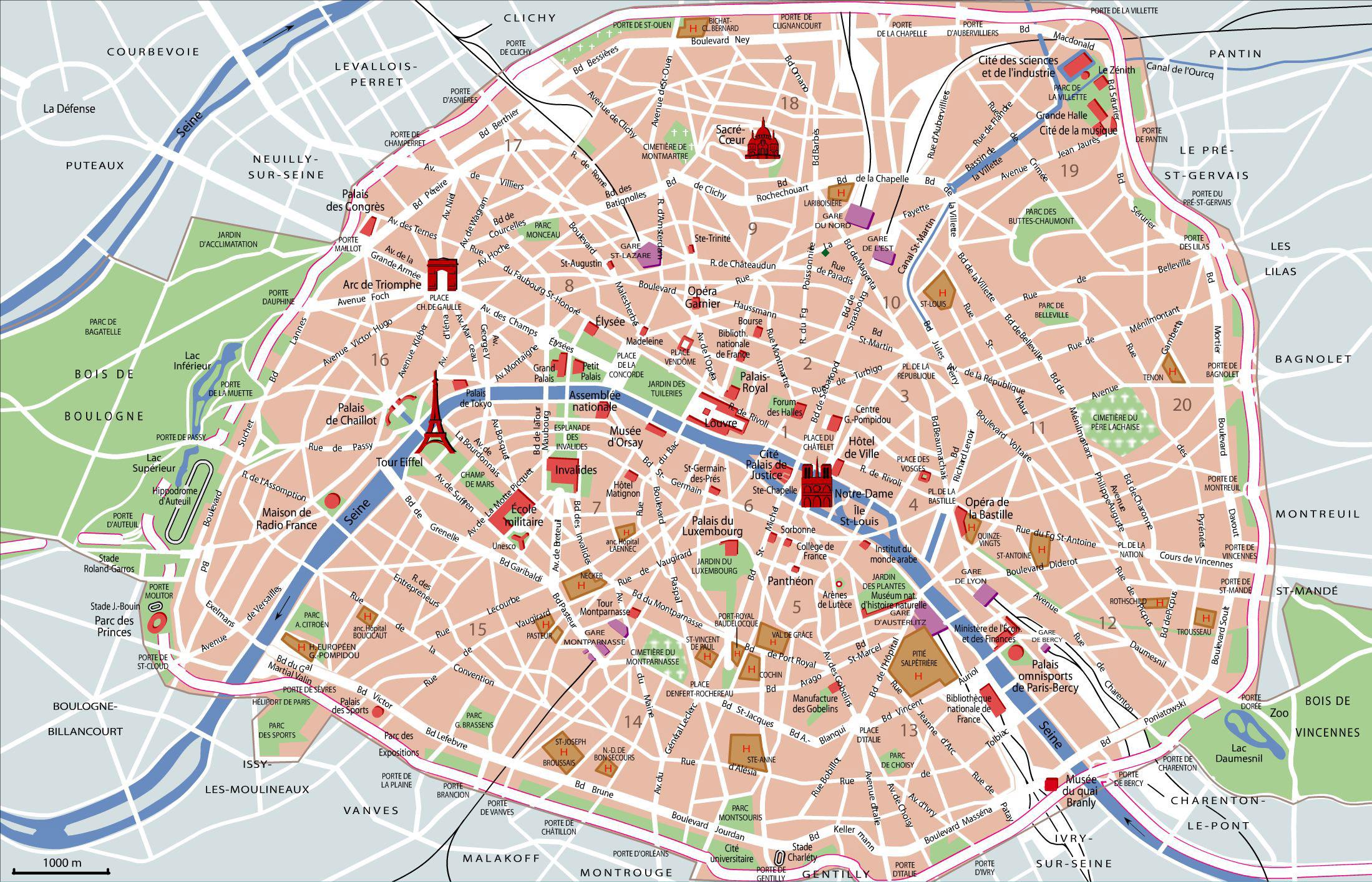 Mapa de París   Viajar a Francia