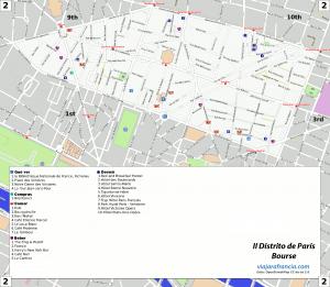 II distrito de París - Generado por OpenStreetMap y datos de Wikitravel