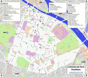 V distrito de París - Generado por OpenStreetMap y datos de Wikitravel