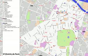 VI distrito de París - Generado por OpenStreetMap y datos de Wikitravel
