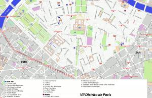 VII distrito de París - Generado por OpenStreetMap y datos de Wikitravel