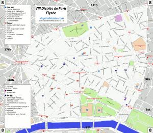 VIII distrito de París - Generado por OpenStreetMap y datos de Wikitravel