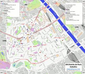 XIII distrito de París - Generado por OpenStreetMap y datos de Wikitravel