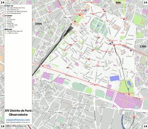 XIV distrito de París - Generado por OpenStreetMap y datos de Wikitravel