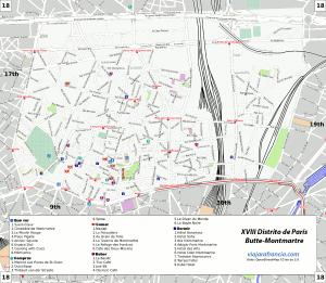 XVIII Distrito de París - Generado por OpenStreetMap y datos de Wikitravel