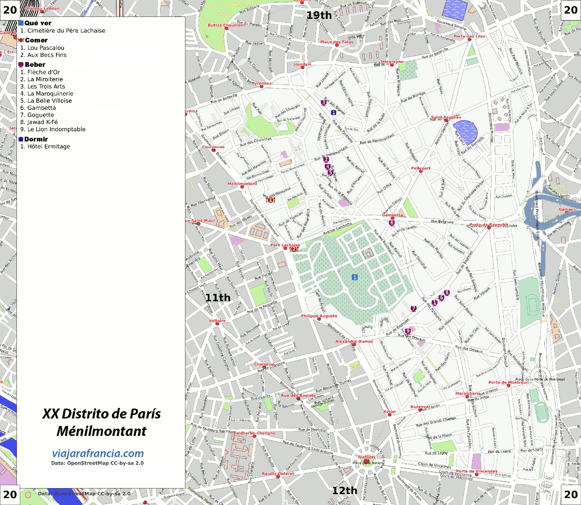 XX Distrito de París - Generado por <a href='http://www.openstreetmap.org/' target='_blank' rel='nofollow'>OpenStreetMap</a> y datos de <a href='http://wikitravel.org' target='_blank' rel='nofollow'>Wikitravel</a>