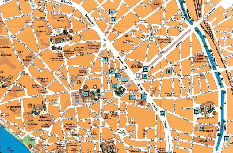 Mapa Turistico De Francia.Mapa De Toulouse Viajar A Francia